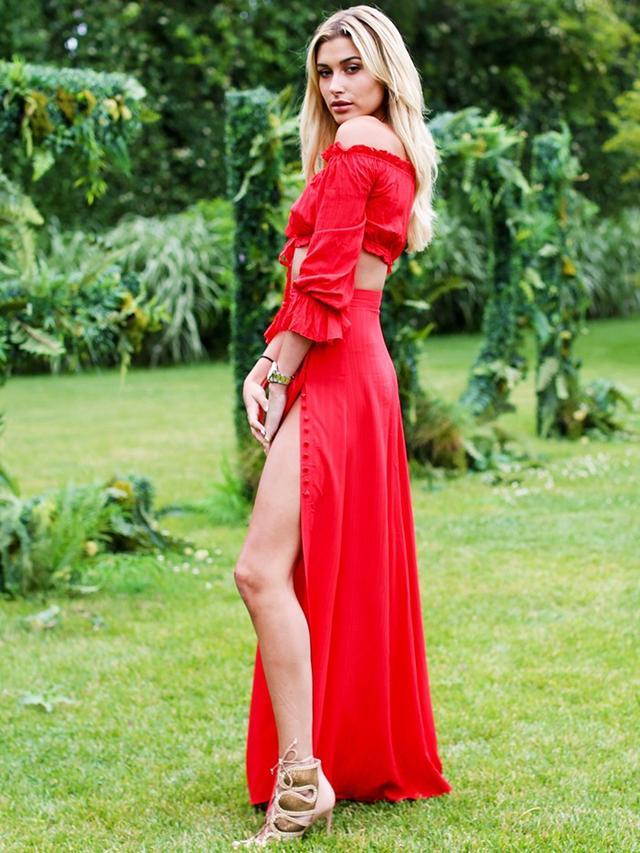 On Hailey Baldwin: Marjorelle Sangria Top(£87) and Sangria Maxi Skirt(£117).