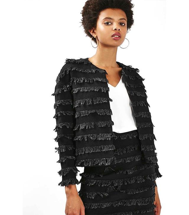 Topshop Frayed Denim Jacket and Skirt