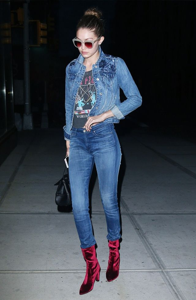 On Gigi Hadid: Abercrombie & Fitch Embroidered Denim Jacket ($59); Junk Food Pink Floyd Muscle Tank ($20); Strom Tio Skinny Jeans ($189); Stuart Weitzman Velvet Clinger Booties (available fall 2016).