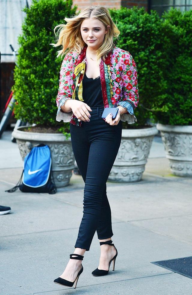 On Chloë Grace Moretz: Gucci jacket.