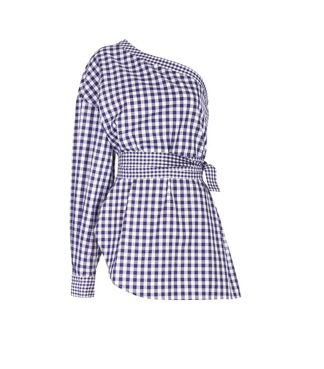 What Not To Wear When It's Boiling Hot: Navy & White Gingham One Shoulder Top