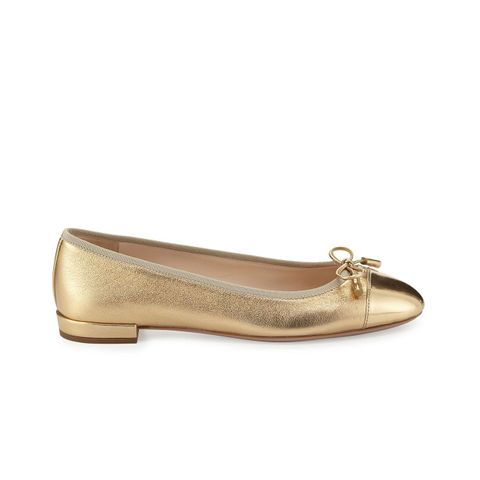 Cap-Toe Leather Ballerina Flats