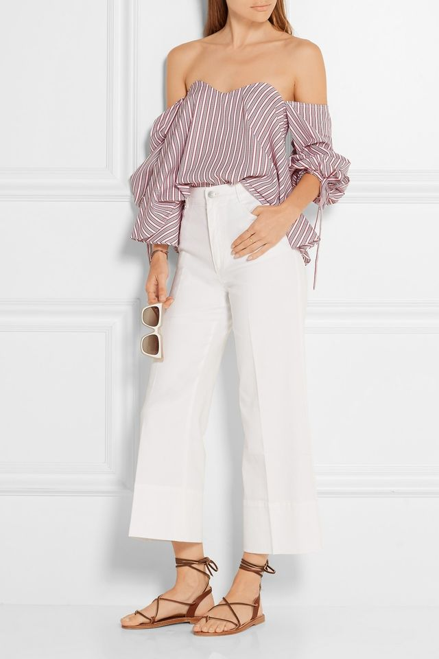 Caroline Constas Gabriella Off-the-Shoulder Striped Cotton Bustier Top