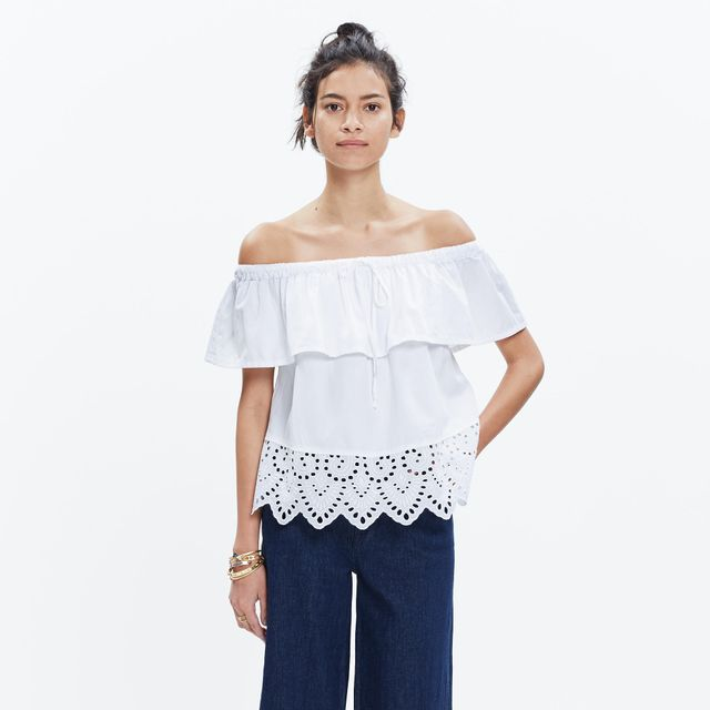 Madewell Eyelet Balcony Off-the-Shoulder