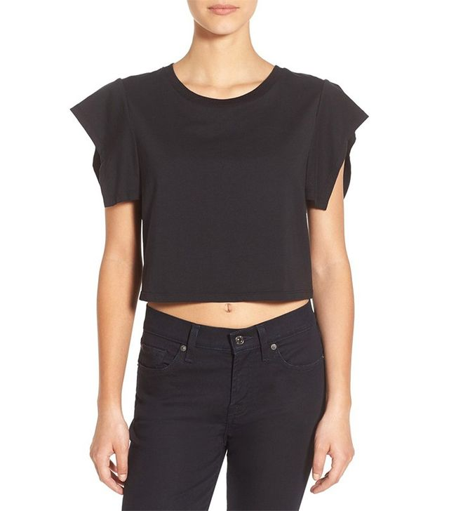 Kendall + Kylie Flutter Sleeve Cropped Tee