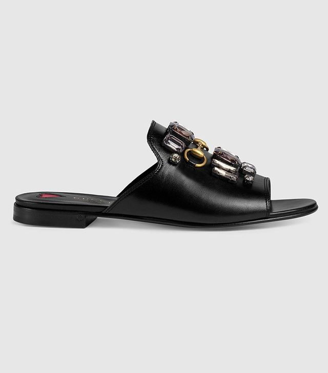 Gucci Leather Slide with Crystals