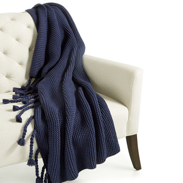 Home Design Studio Long Tassel Knit Throw