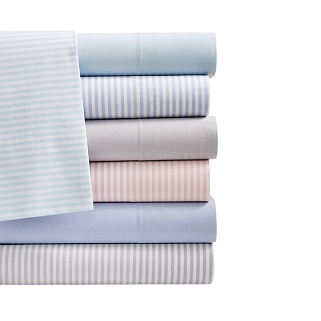 Martha Stewart Collection Collection Chambray Stripe and Solid Cotton Percale Sheet Sets (Queen)