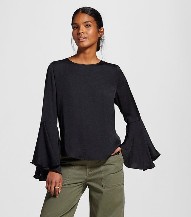 Who What Wear Bell Sleeve Blouse in Black