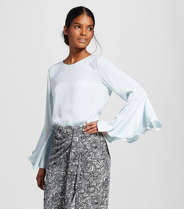 Who What Wear Bell Sleeve Blouse in Light Blue