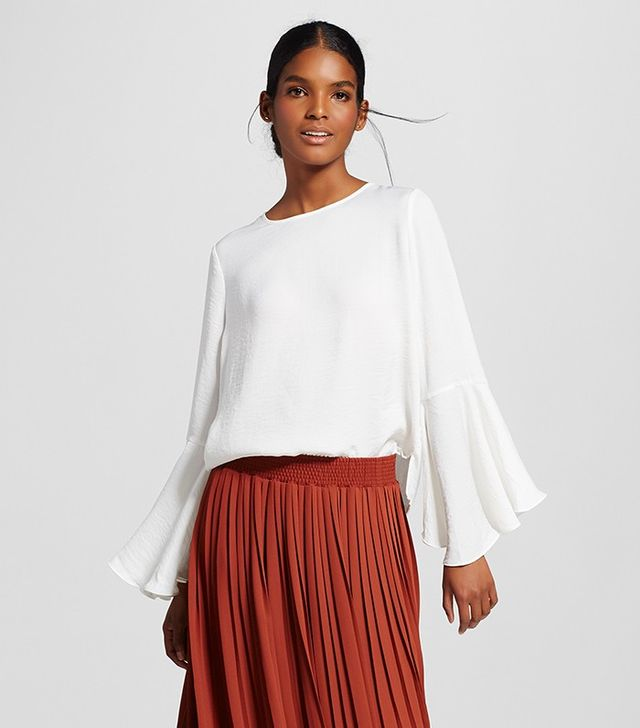 Who What Wear Bell Sleeve Blouse in White