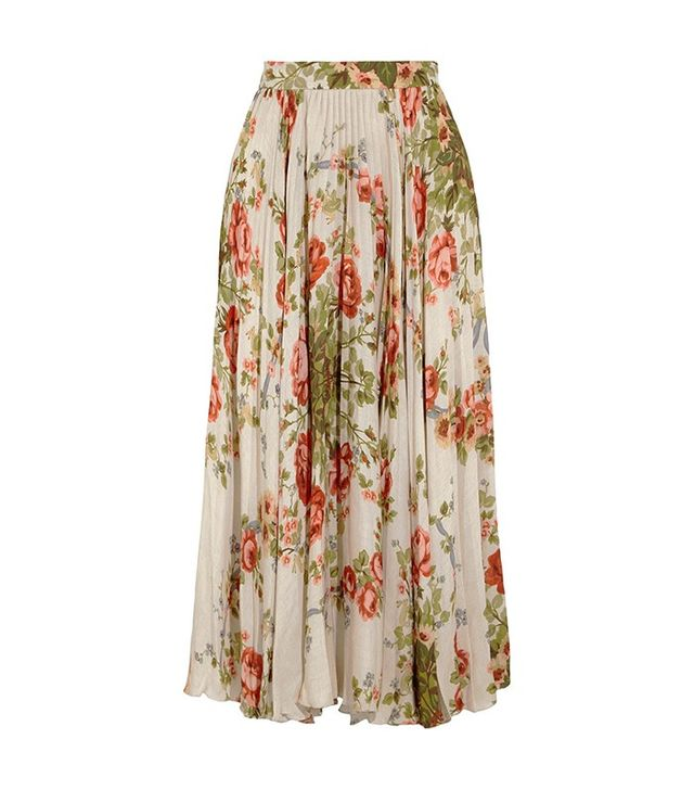 Gucci Pleated Floral-Print Silk Midi Skirt