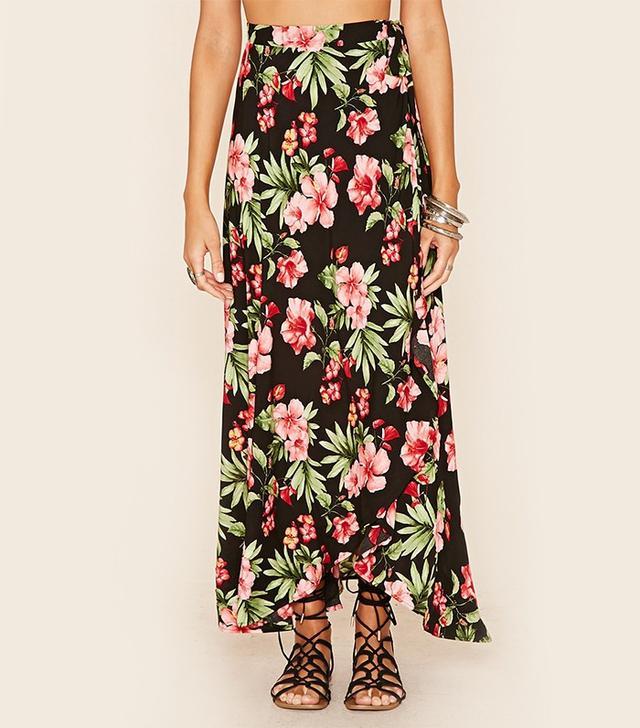Forever 21 Floral Print Wrap Midi Skirt