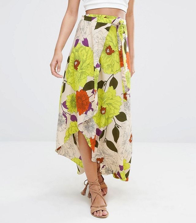 River Island Oversized Floral Print Maxi Skirt