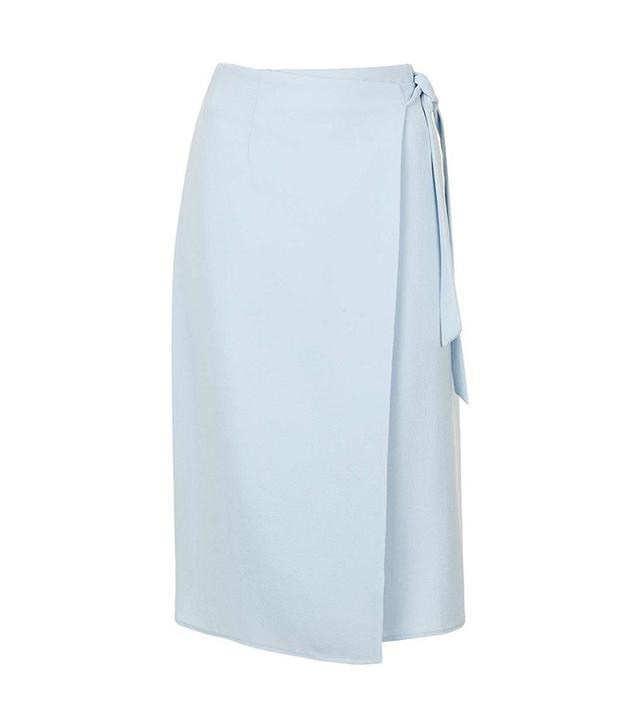 Topshop Wrap Tie Midi Skirt