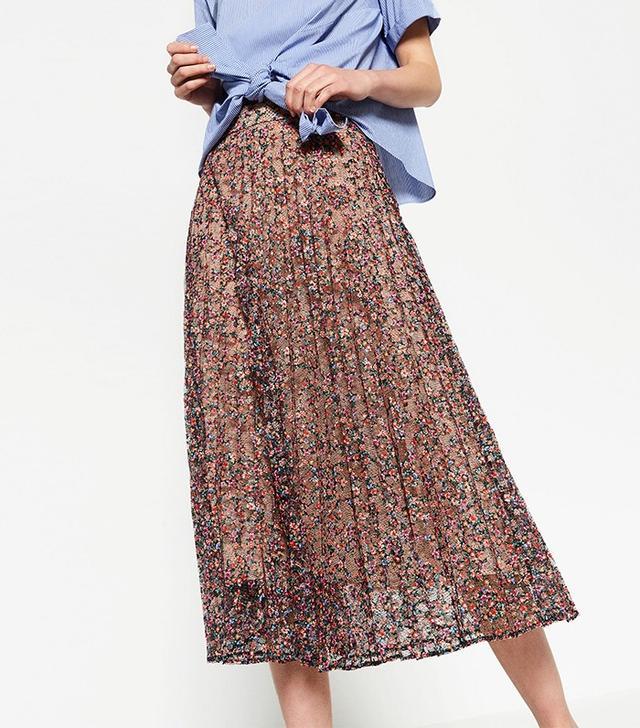 Zara Lace Print Skirt