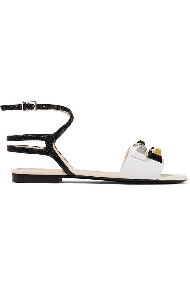 Fendi Embellished Matte and Lizard-Effect Sandals