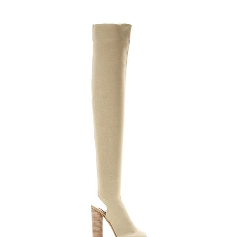 Knitted Over-the-Knee Peep-Toe Boots