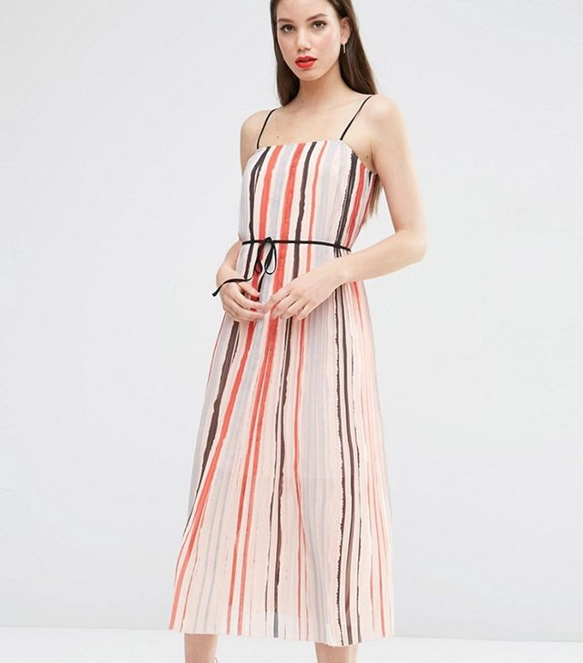 Asos Cami Pleated Midi Dress