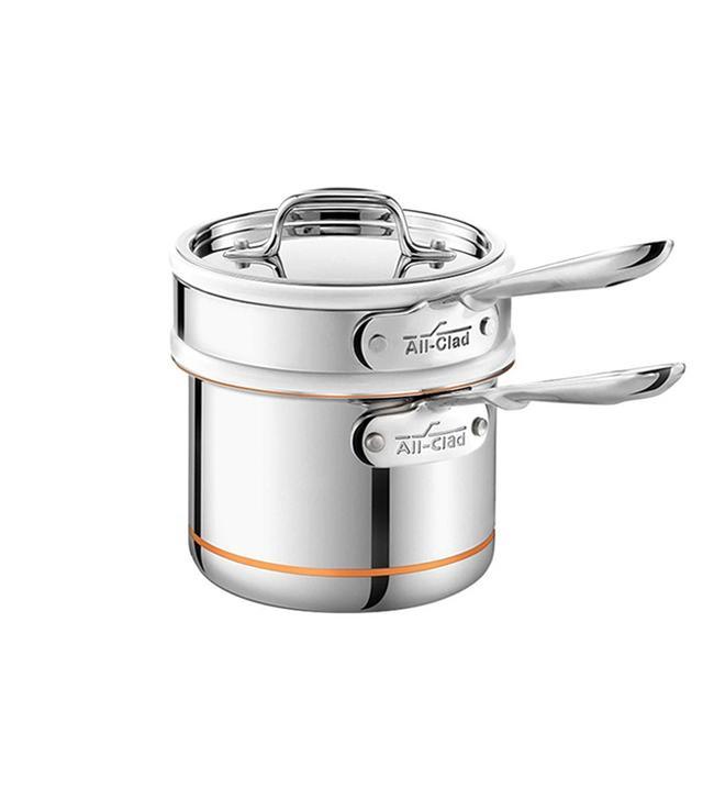 Bed Bath & Beyond All-Clad Copper Core 2-Quart Saucepan With Porcelain Double Boiler Insert