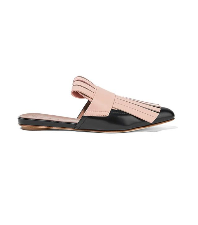 Marni Fringe Two-Tone Leather Slippers