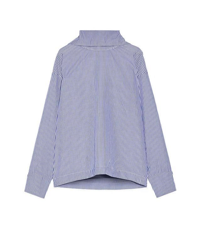 Rosie Assoulin Oversized Striped Cotton-Poplin Shirt