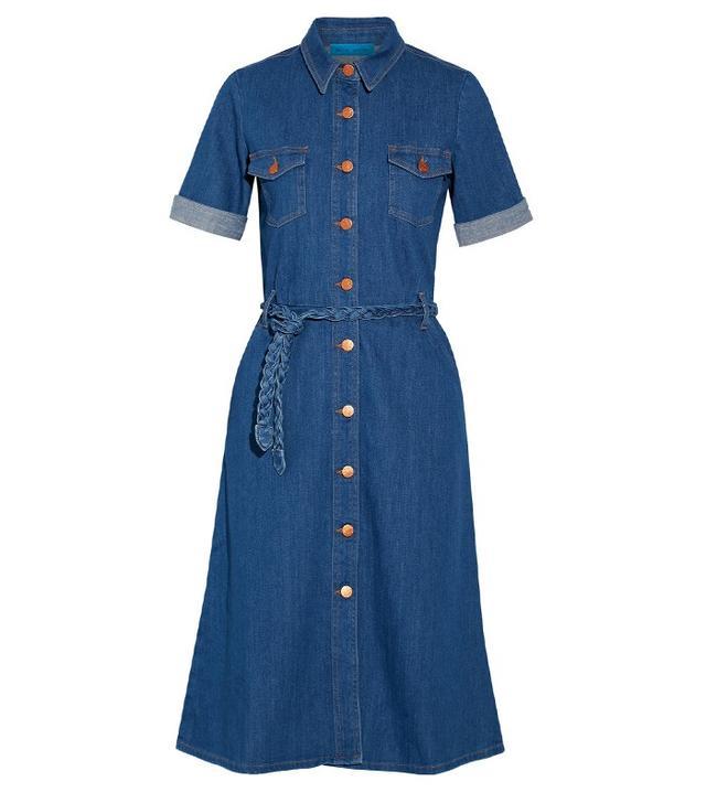 M.i.h Jeans Belted Stretch-Denim Shirt Dress