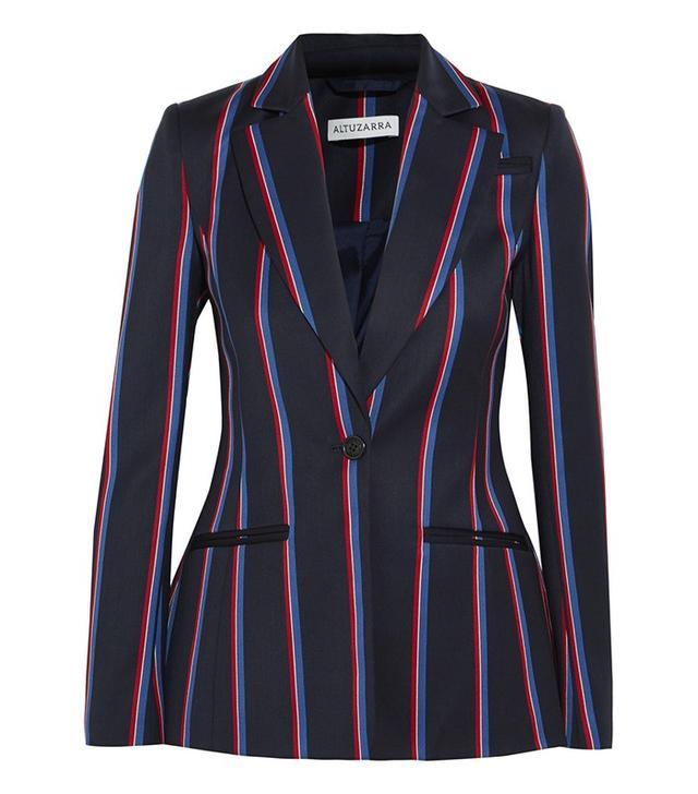 Altuzarra Acacia Striped Wool and Cotton-Blend Blazer
