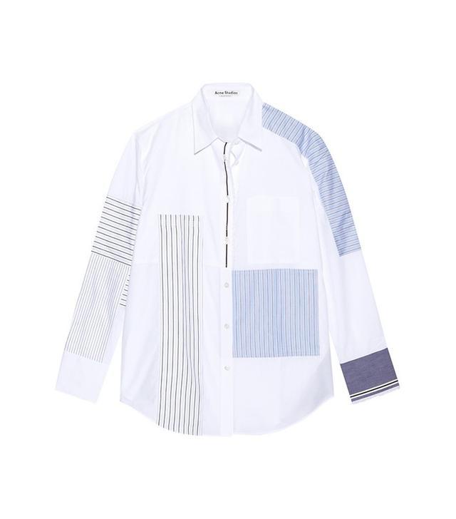 Acne Studios Sela Patchwork Cotton-Poplin Shirt