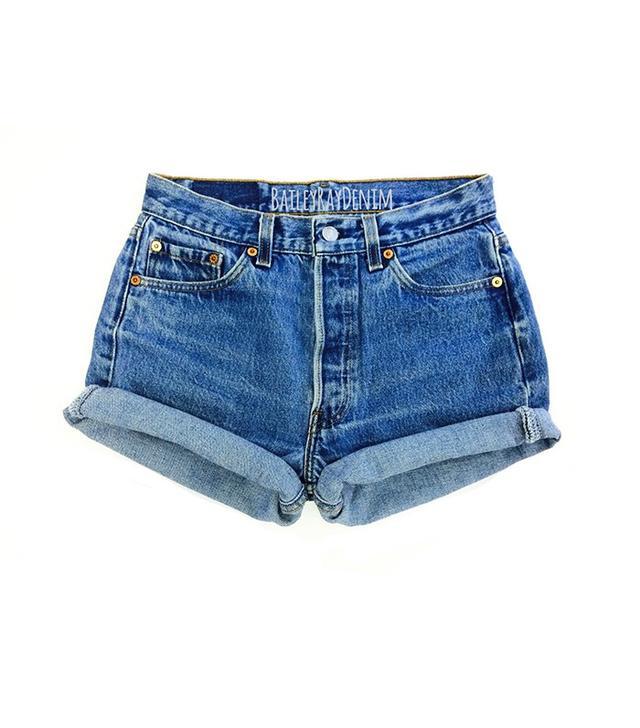 Vintage Levi's High Waisted Cuffed Denim Shorts