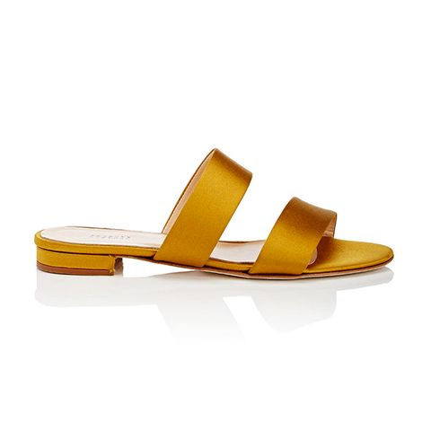 Satin Double-Band Slide Sandals