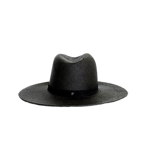 Black Lynn Short Brimmed Panama Hat