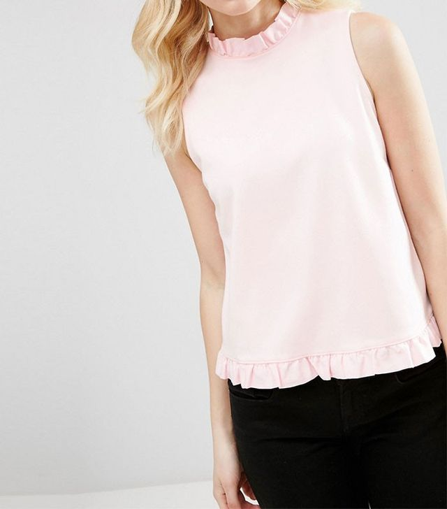 ASOS PETITE Shell Top with High Neck & Woven Ruffle