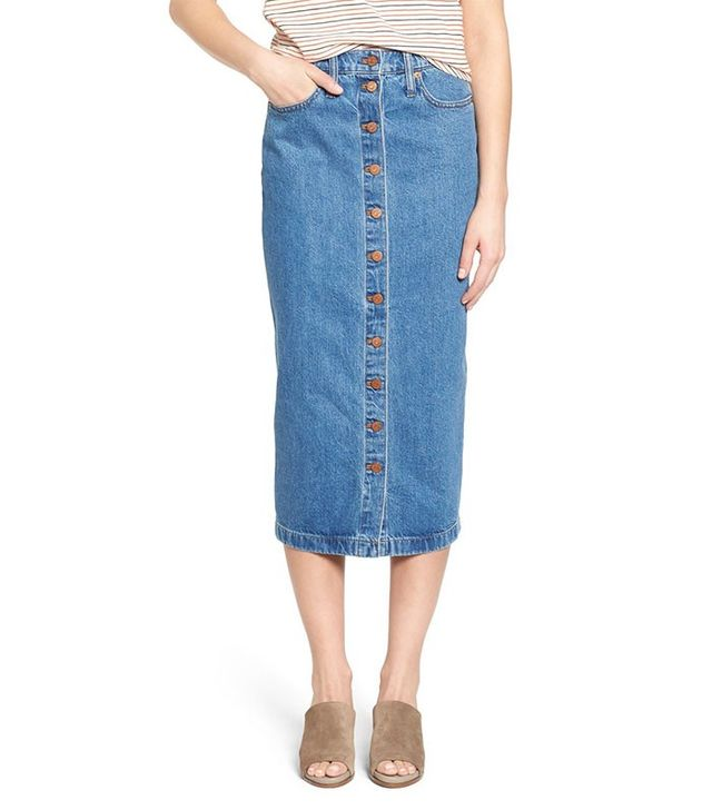 Madewell Button Front Denim Midi Skirt