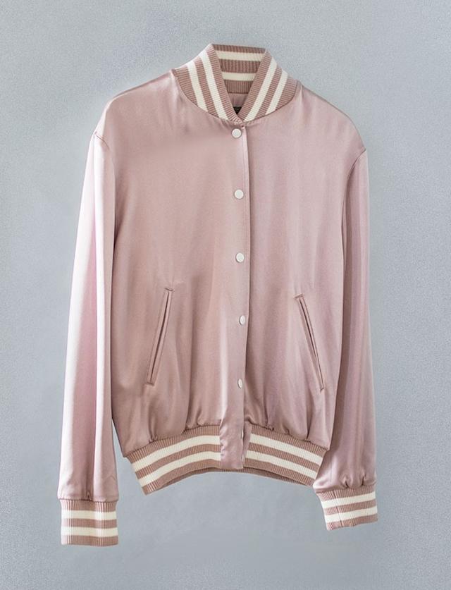 Simone by Katie Nehra Silk Varsity Jacket