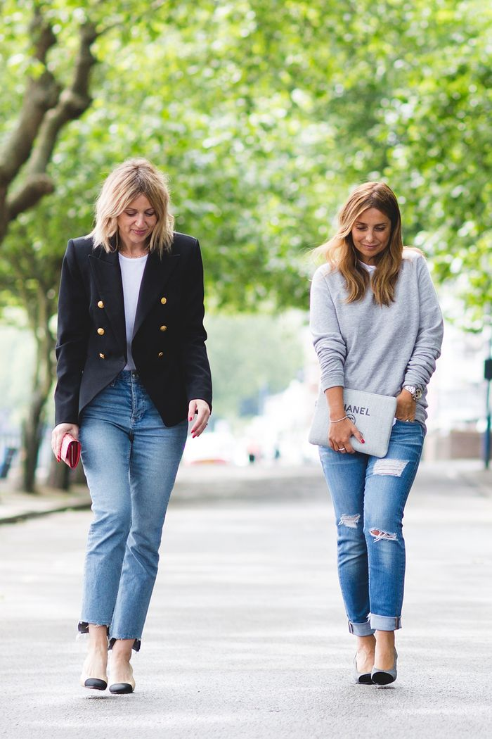 How to dress in your 30s: Em and Lou in jeans and tailoring