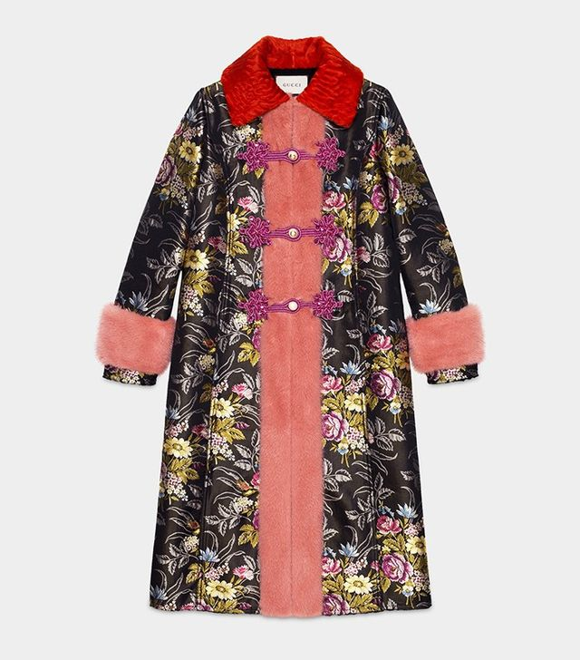 Gucci Silk Jacquard Coat With Mink