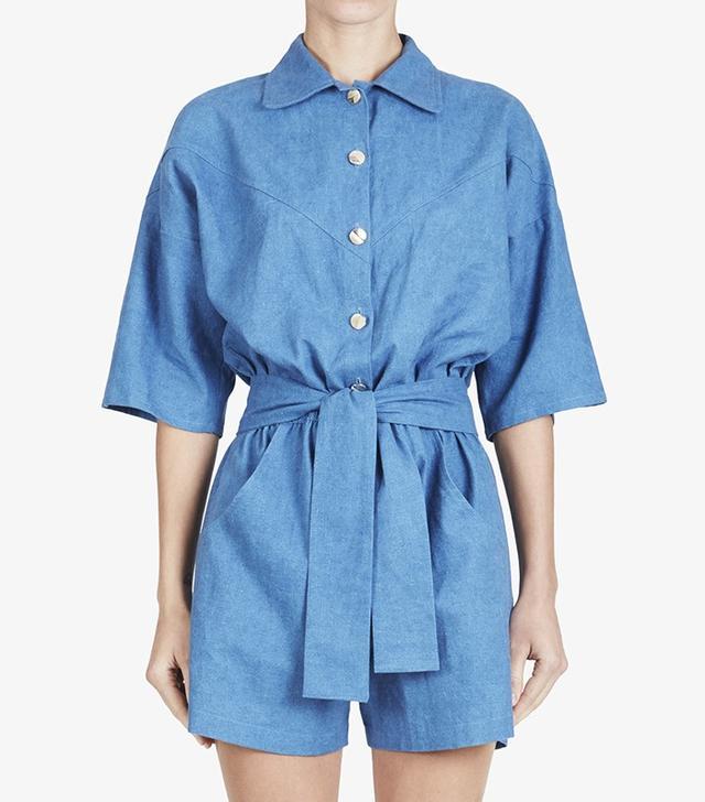 Carolina Ritzler Short Sleeve Linen Jumpsuit in Jean