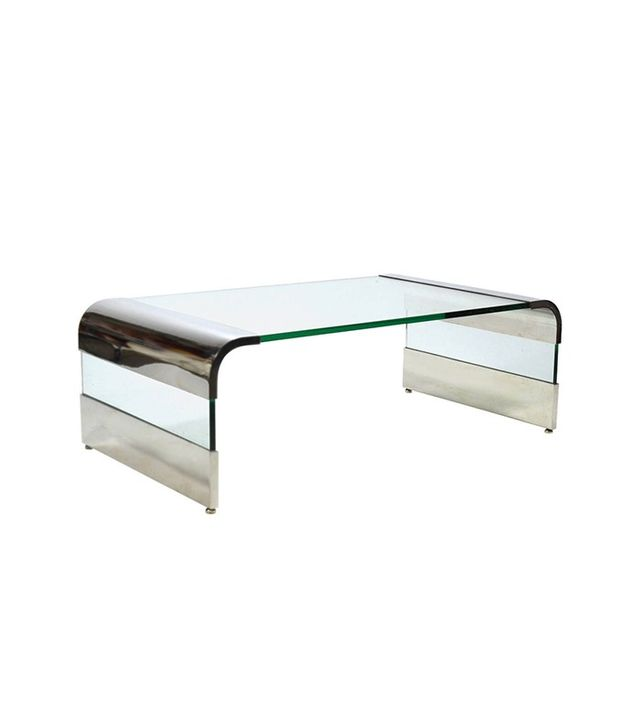 Pace Chrome and Glass Waterfall Coffee Table