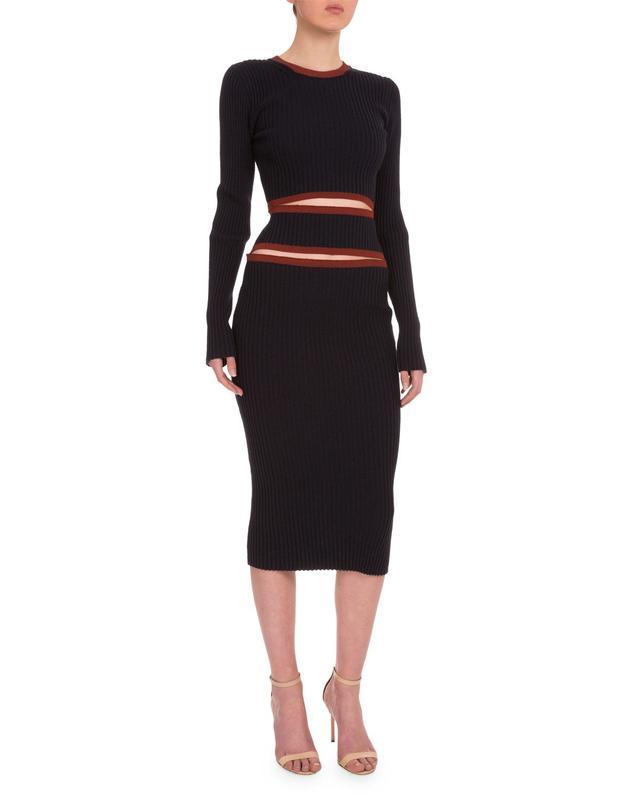 Victoria Beckham Round-Neck Cutout-Front Ribbed Dress