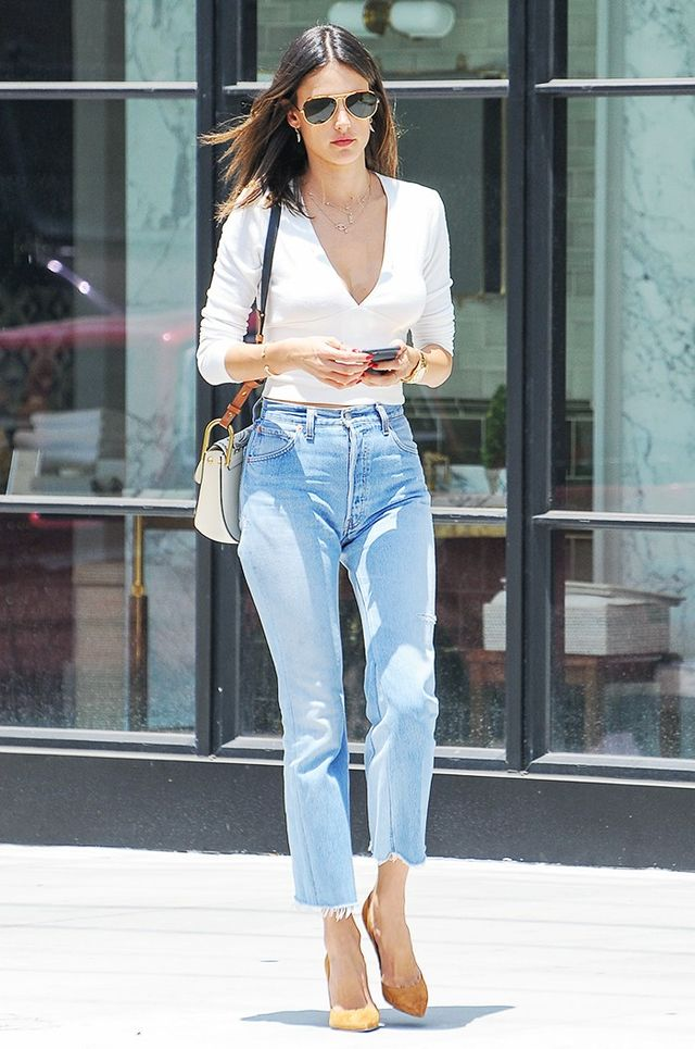On Alessandra Ambrosio: Re/Done | Levi's The High Rise Cropped No. 2926HRC125680 ($258).