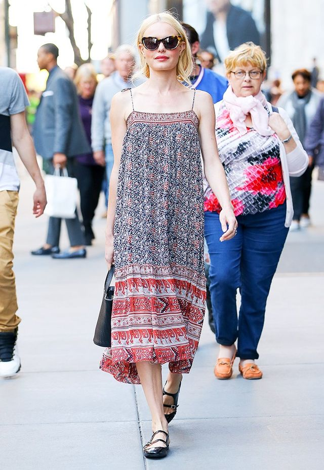 On Kate Bosworth: Sunday Somewhere Laura Sunglasses ($270); Meli Melo bag; Ulla Johnson Imane Midi Dress ($449); Carven shoes.