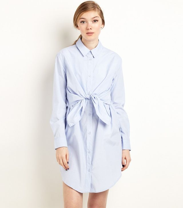 Pixie Market Light Blue Wrap Tie Shirt Dress
