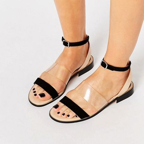 Flat Sandal With Perspex Strap