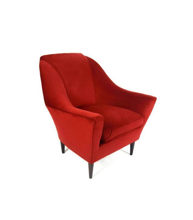 Vintage Pair of Red Velvet Armchairs