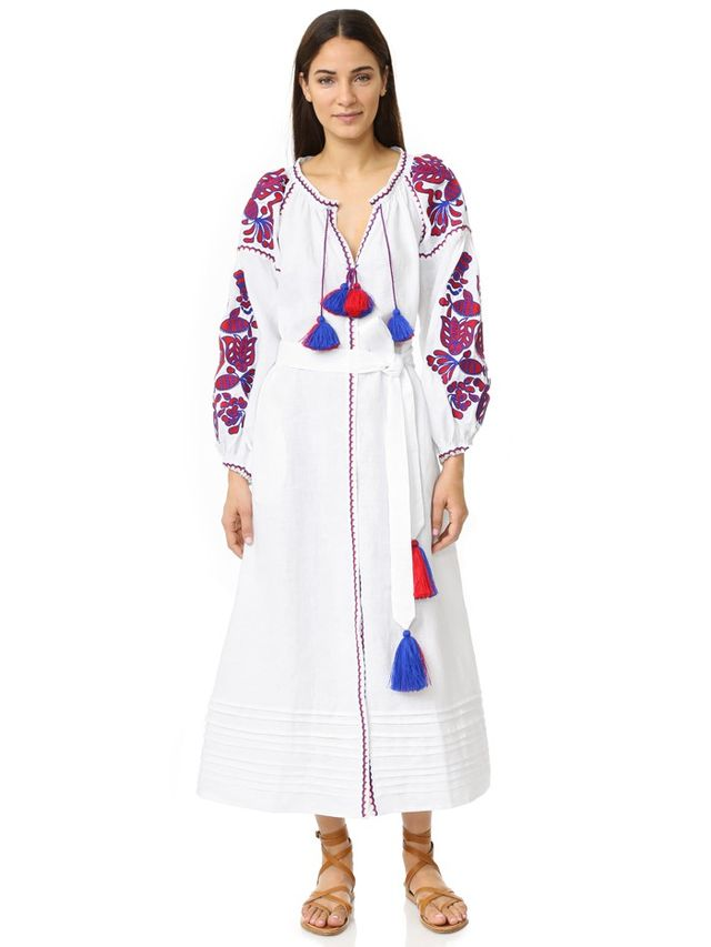 MARCH11 Maxi Dress with Poppy Flower Embroidery