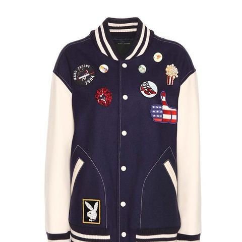 Embellished Wool Blend Bomber Jacket