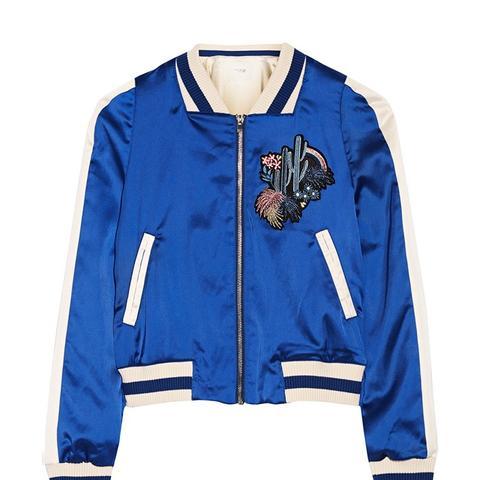 Bacary Varsity-Style Two Tone Satin Jacket