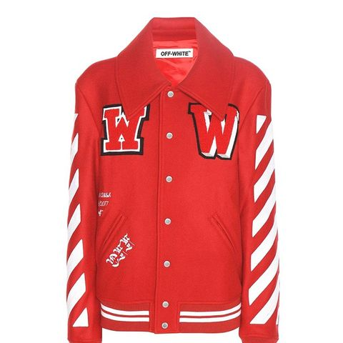 Embroidered Virgin Wool Blend Varsity Jacket
