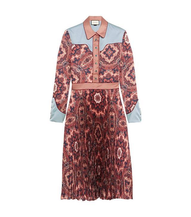 Gucci Satin Paisley-Print Plissé Silk Satin Dress